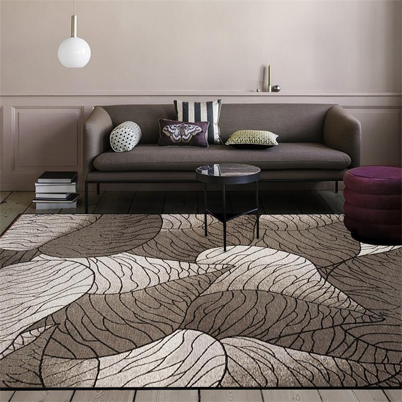 سجادة بسيطة وعصرية على الطراز الاسكندنافي ، 200 × 300 سنتيمتر ، بأوراق داكنة لغرفة النوم وغرفة المعيشة ، لباب بجانب السرير ، سجادة أرضية