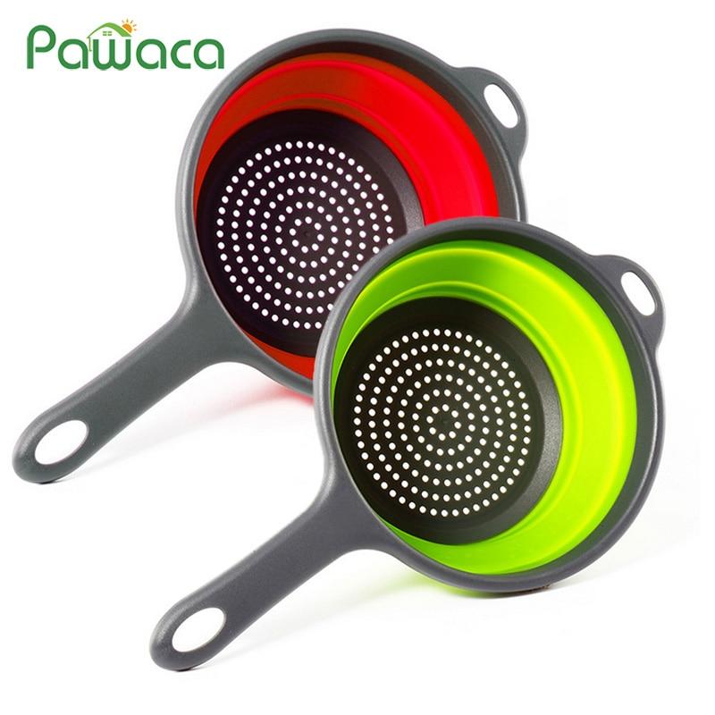 Coladores plegables de cocina coladores plegables con mangos herramientas de cocina para lavar frutas vegetales ahorradores de espacio
