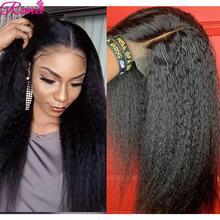 Peluca de cabello humano liso para mujeres negras, postizo de 30 pulgadas con encaje Frontal, pelo Remy brasileño, predespuntado, 180%