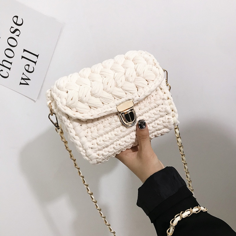 Bag women's 2020 self-made hand woven chain lock cloth bar Crochet woven bag women's oblique straddle bag single shoulder bag ha