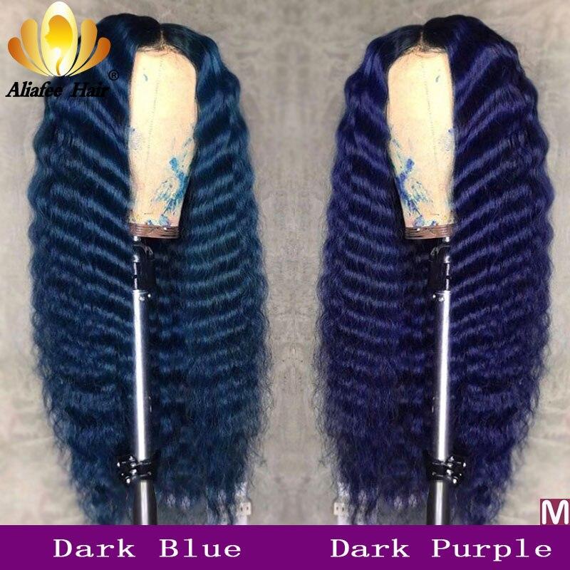 Pelucas de cabello humano ondulado oscuro azul oscuro color Malasia Remy frontal de encaje 13x4 150% Pre arrancado con pelo de bebé para mujeres