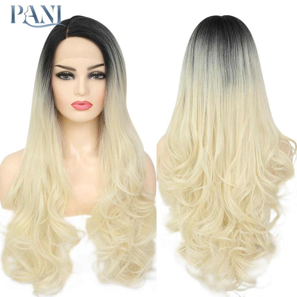 pani 613 ombre perucas com escuro para preto feminino ondulado sintetico laco frente