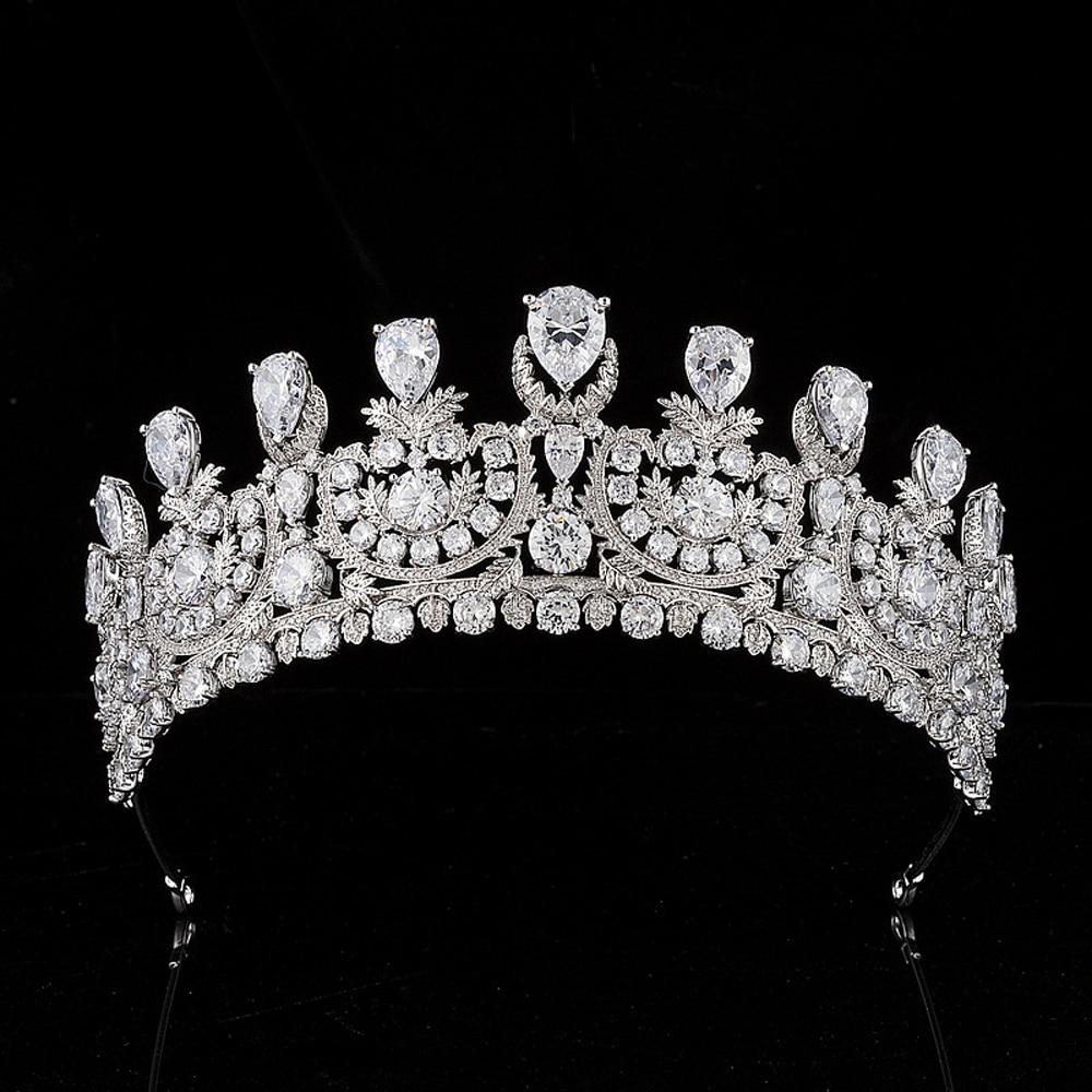 European Cubic Zirconia Wedding Bridal Tiaras and Crowns Women Girls CZ Party Hair Jewelry Accessories Zircon Pageant Headpieces