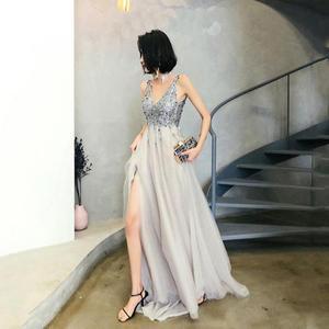 Robe De Soiree V-neck Handmade Beading Formal Evening Dress Side Split Evening Dresses Court Train Luxury Backless Party Dress