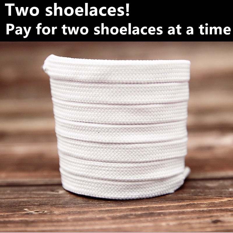 Buy one get one flat shoelace men and women pure color black small white shoes lovers all-match  sho