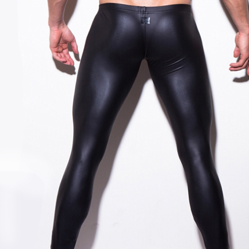 Mens Performance Pant 2020 Fashion Slim Pencils Faux Leather Men  Leggings High Quality Comfortable Breathable Leggings