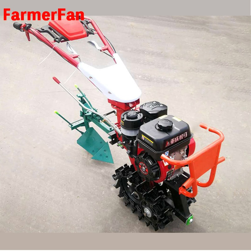 Crawler tractor type small micro tiller all-in-one agricultural hydraulic flip plow plough