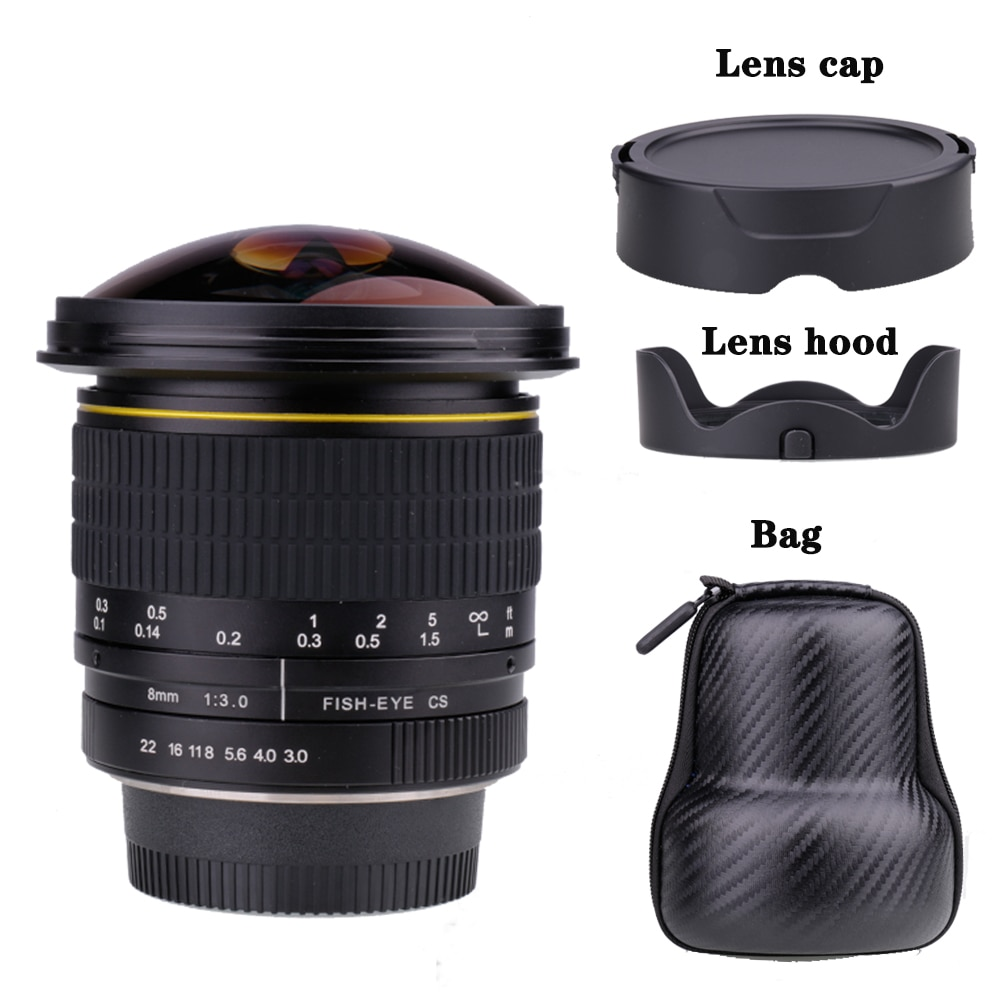 8mm f/3.0 lente da câmera circular asférica ultra larga fisheye lente para canon dslr 550d 650d 750d 77d 80d 1100d câmeras