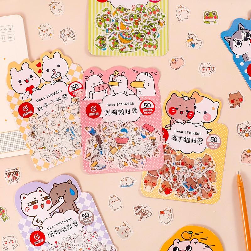 50-pz-pacco-simpatico-cartone-animato-animali-adesivi-in-pvc-trasparente-per-diario-calendario-album-decorazione-scrapbook-planner-journal