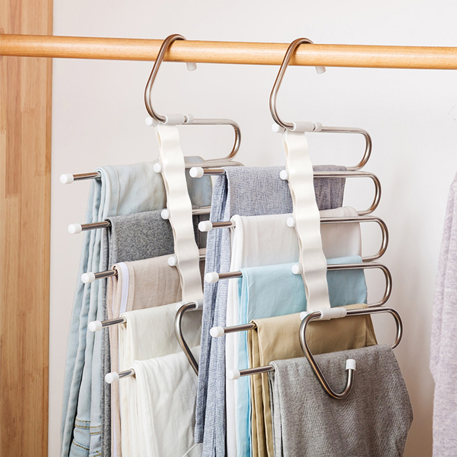 5 in 1 Pant Rack Hangers for Clothes Multifunction Shelves Wardrobe Closet Storage Organizer StainlessSteel Magic Trouser Hanger
