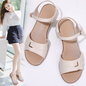Wedges Platform Thick Bottom Women's Sandals For Women Genuine Leather Casual Shoes Woman Solid Sandalias Mujer Heels