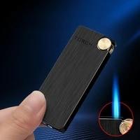 2021 ultra thin metal flint lighters gas lighter butane turbo jet lighter cigar cigarettes windproof lighter gadgets for men