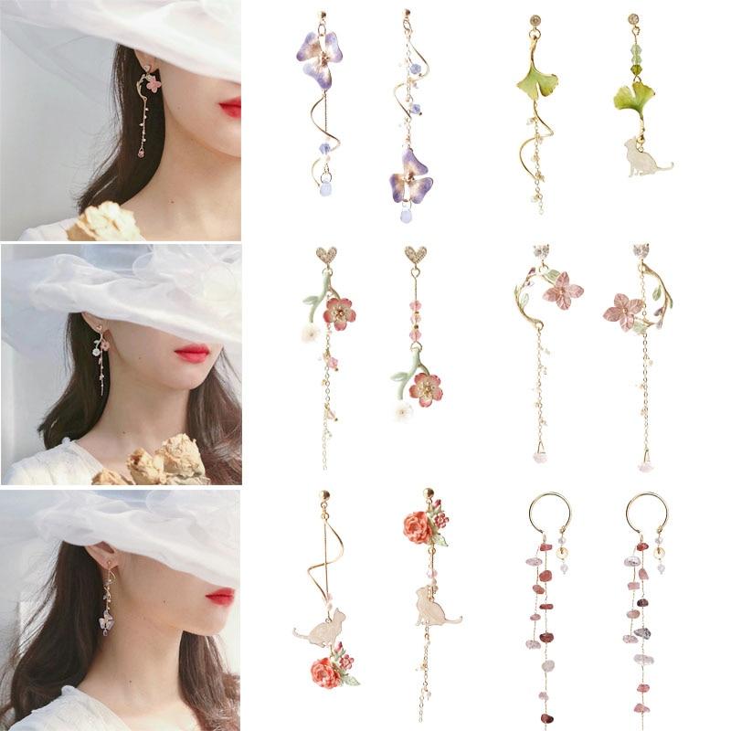 Mode Elegante Harajuku Stil Süße Kirsche Blossom Ginkgo Blatt Katze Blume Anhänger Ohrringe Frauen Schmuck Exquisite Pendientes