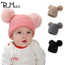 Powmuco 18*21 CM Solid Color Knitted Wool Hats Handmade Crochet Infant Caps with Double Pompom Autum