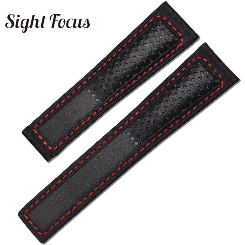 22mm perfurate pulseira de relógio de couro para tag_heuer carrera monacocouro pulseira de relógio de couro preto ponto vermelho substituição pulseira
