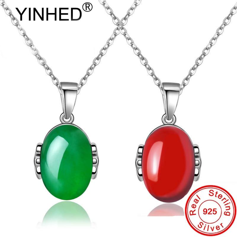 YINHED collar con colgante de plata sólida 925 auténtica para mujer, collar de rubí Calcedonia Verde Vintage, joyería de regalo de cumpleaños ZN145