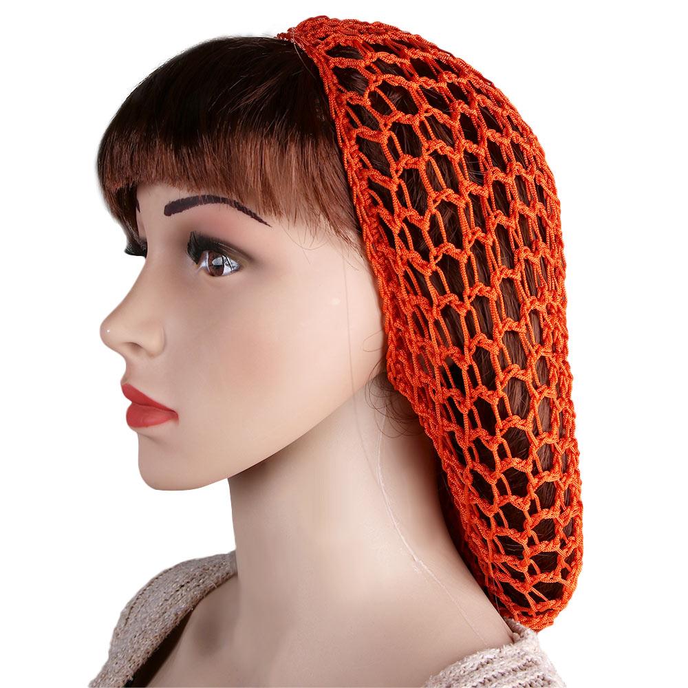 Mulheres macios rayon crochê hairnet oversize malha chapéu boné 9 cores snood cabelo net hairbands senhora acessórios de cabelo