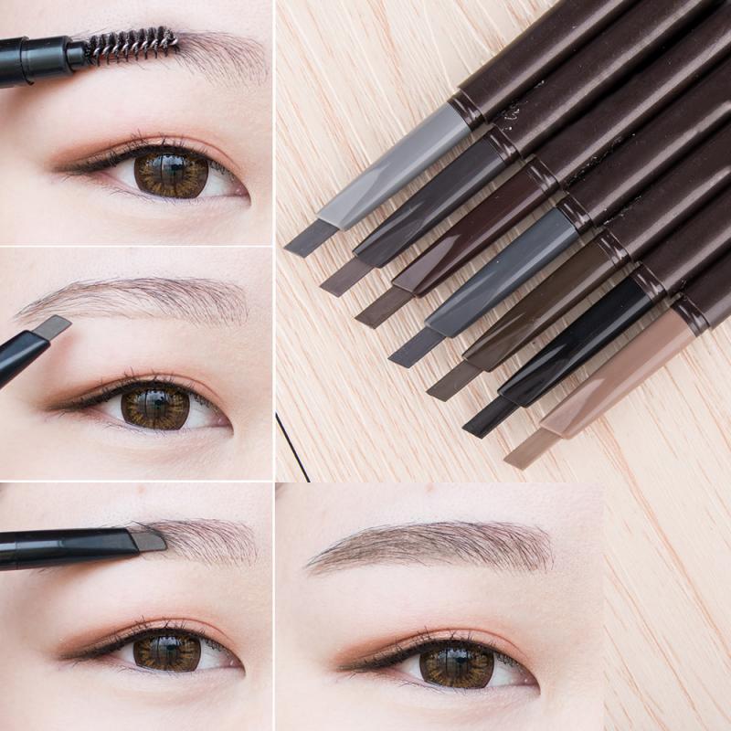 2 in 1 Women Makeup Sketch Liquid Eyebrow Pencil Waterproof coffee Eye Brow Tattoo Dye Tint Pen Line