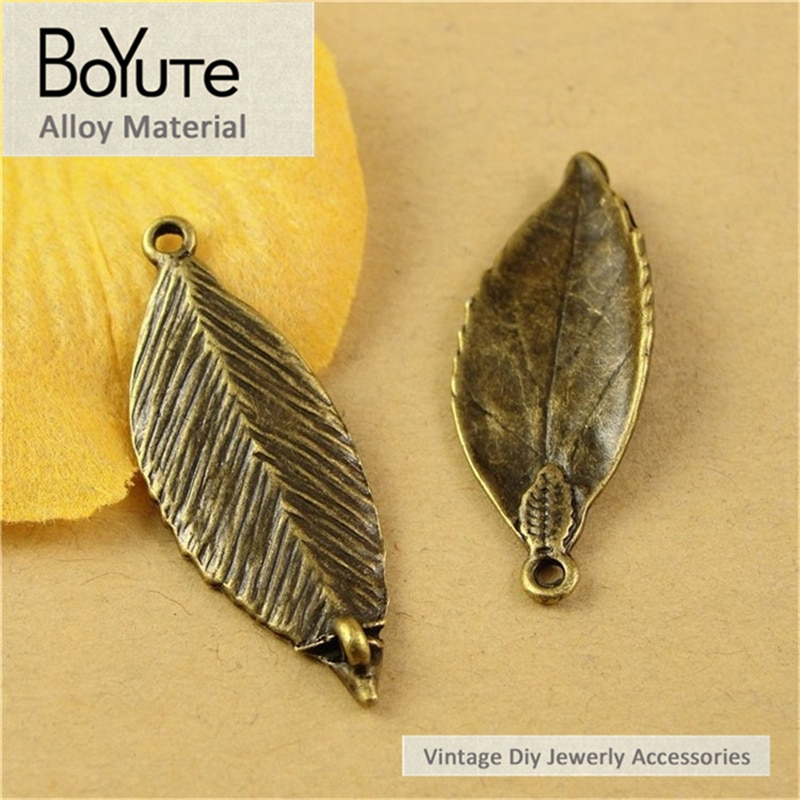 BoYuTe (60 Pieces/Lot) 34*13MM Antique Bronze Plated Zinc Alloy Leaf Connector Vintage Jewelry Findi