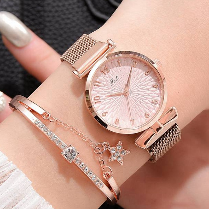 Luxury Women Bracelet Quartz Watches For Women Magnetic Watch Ladies Sports Dress Pink Dial Wrist Watch Clock Relogio Feminino