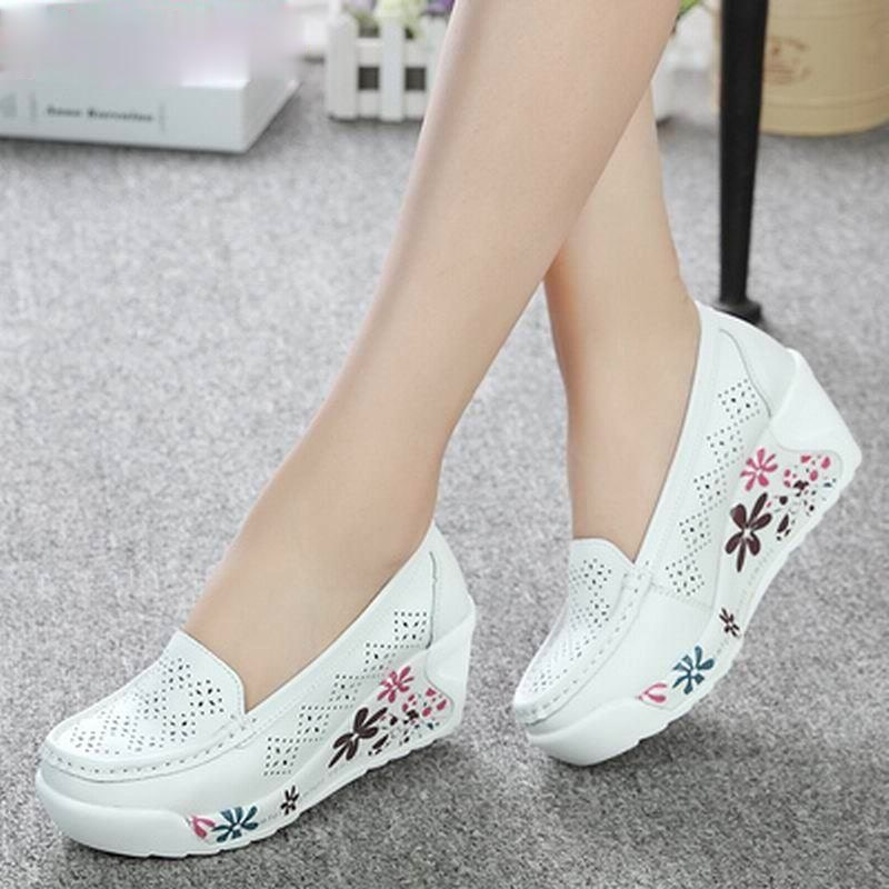 New Womens Genuine Leather Platform Shoes Wedges White Lady Casual Swing mother Size 35-40