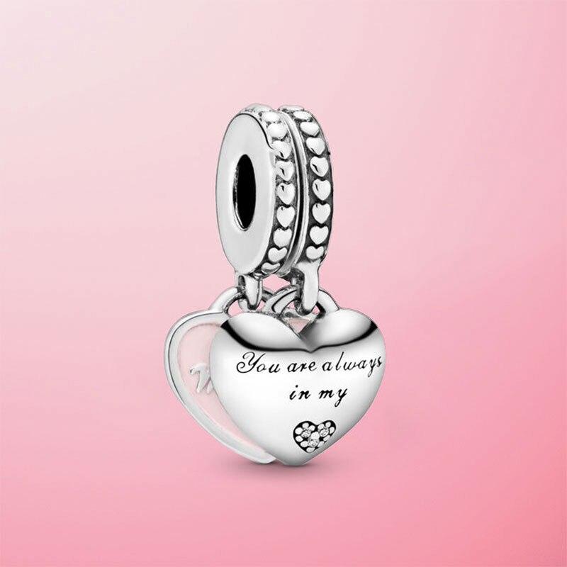 925 prata esterlina mãe & filha corações balançar charme contas caber pamura original charme pulseira jóias mãe presente Contas    -