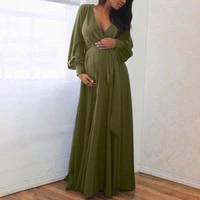 women maternity dress pregnant clothes full dress v neck long lace lady dress
