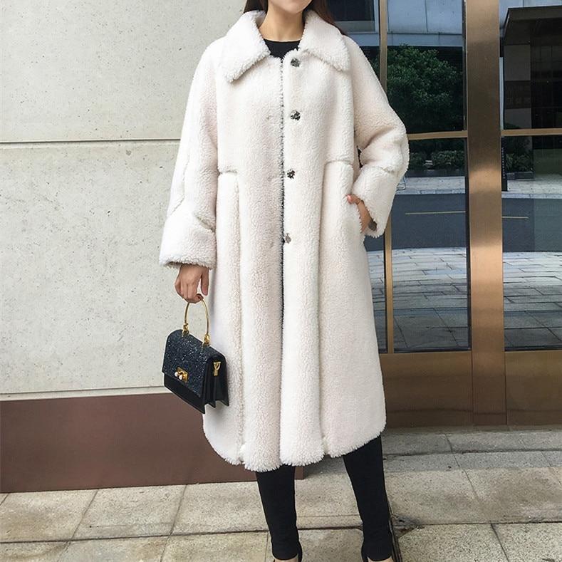 SY11  winter women  wool fur coat front button warm jacket pocket sheep shearing girl long coats lady short jacket overcoat