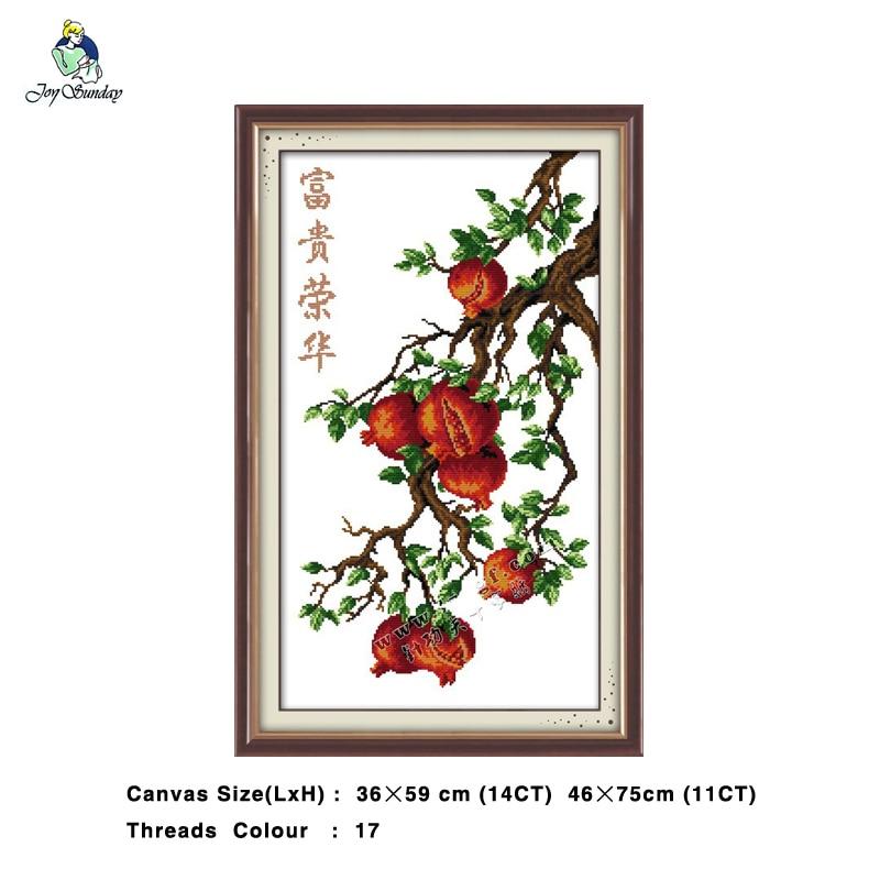 Riches and Glory Pomegranate Painting DMC 14CT 11CT Cross Stitch Needlework Set Embroidery Kits Chinese Cross Stitch Home Decor