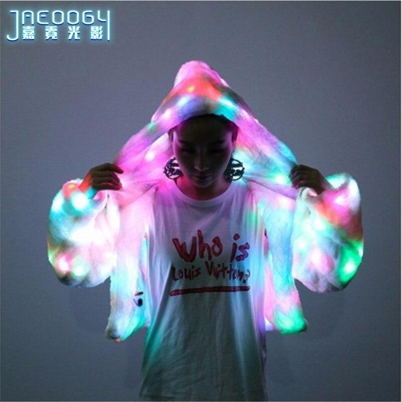 Envío Gratis LED luminiscente ropa mujer suéter abrigo bar tienda nocturna equipo baile rendimiento color fluorescente ropa