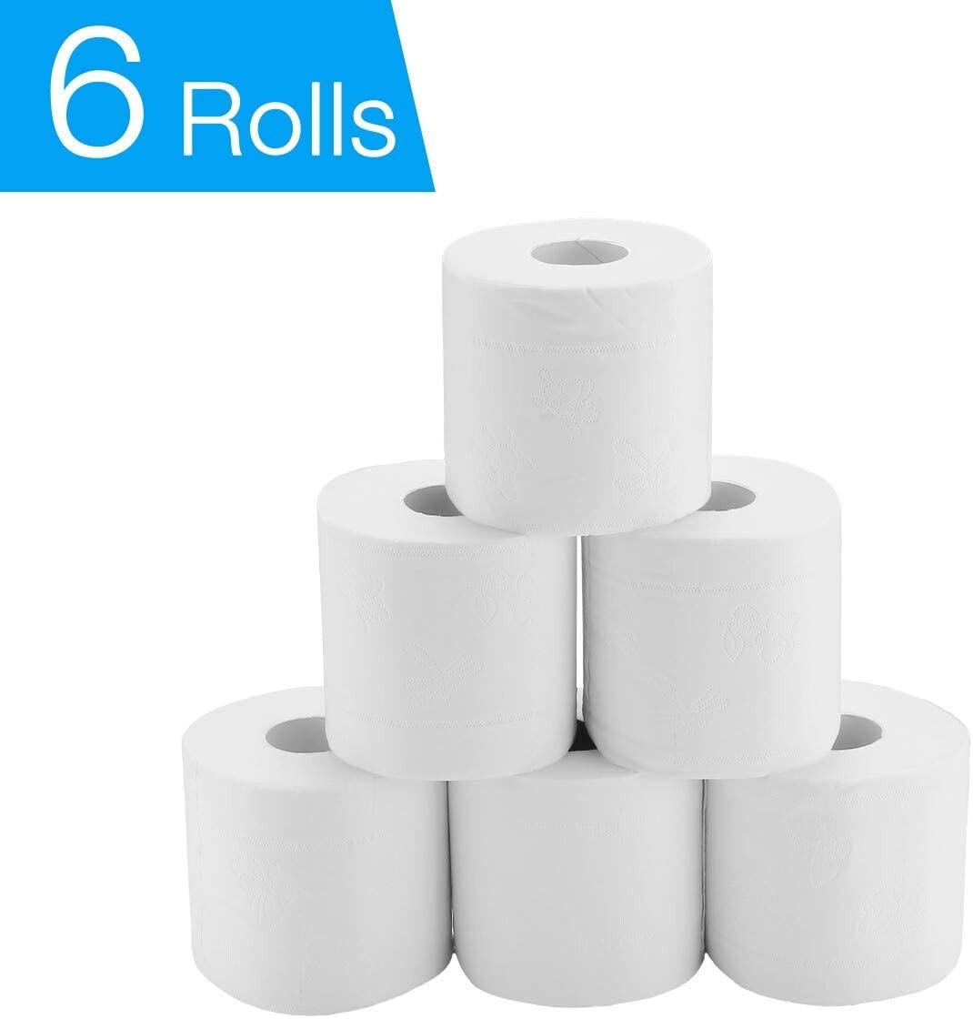6 rolos de toalha de papel-polpa de madeira nativa suave macio 3-ply toalha de papel de banheiro papel higiênico papel de rolo de tecido
