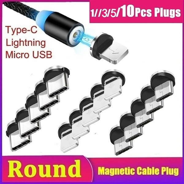 1/3/5/10 Uds magnético redondo conector de Cable tipo C Micro USB Lightning...