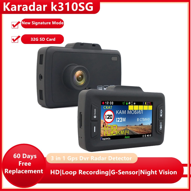 Karadar-3 في 1 كاميرا تسجيل فيديو Gps ، كاشف رادار توقيع لروسيا ، كاشف مضاد للرادار K310SG للسيارة