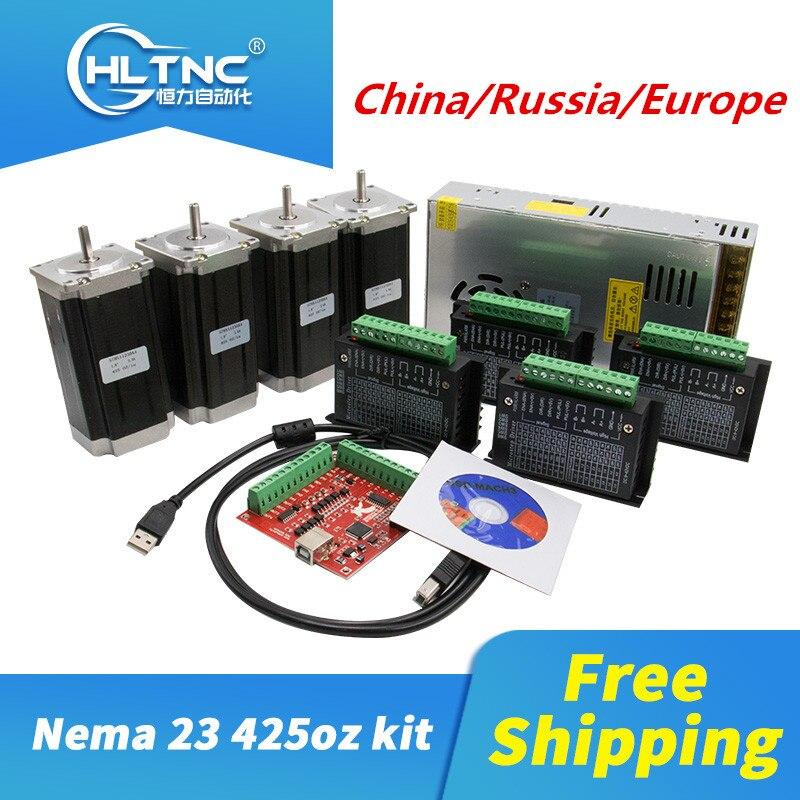 CNC motor CN/RU/ES 4 stücke TB6600 fahrer + 4 stücke Nema23 425 Unzen-in dc motor + 1 set MACH3 + 1 stücke 350W 36V netzteil für CNC builde
