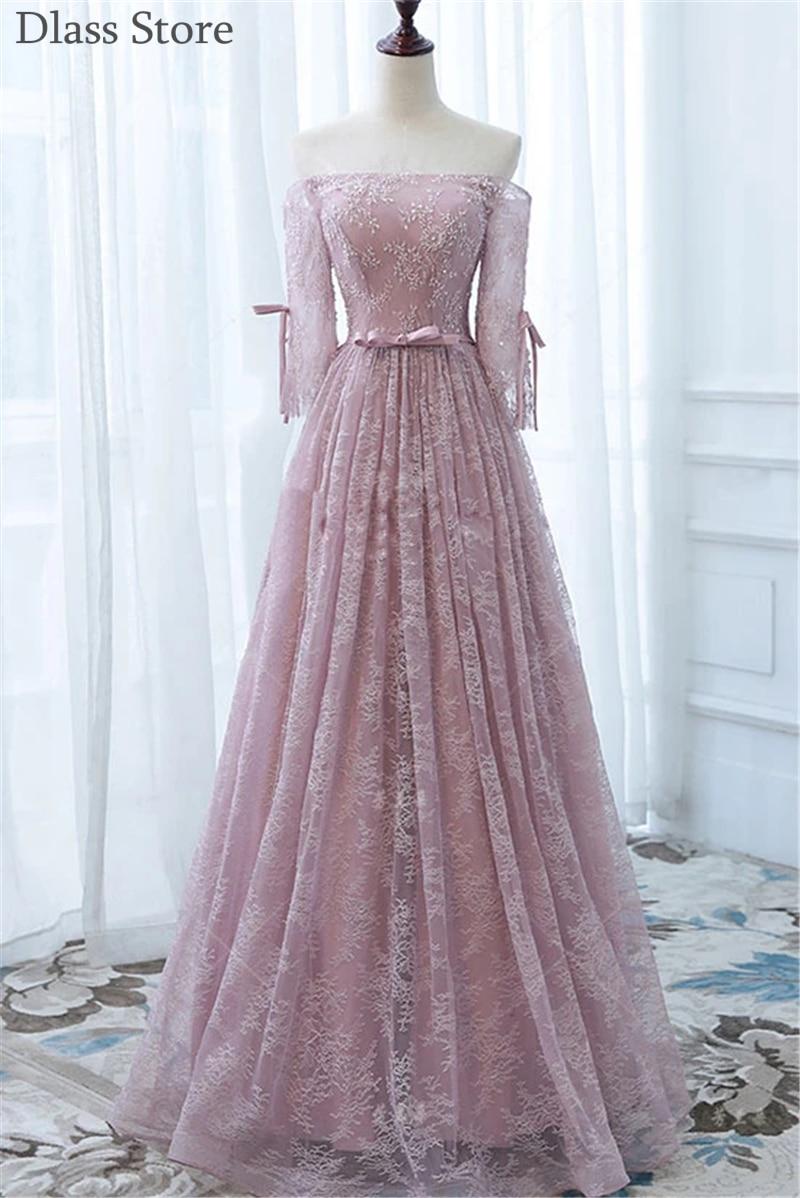 Dusty Pink Evening Dresses 2021 New Off Shoulder Boat Neck Half Sleeves Laces A-line Floor Length Prom Dress вечерние платья
