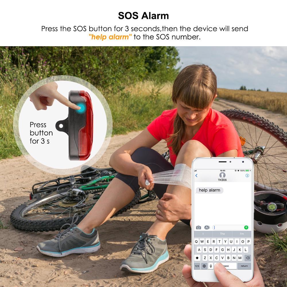 TKSTAR GPS Tracker Bike Waterproof Taillight Design Vibrate Drag Alarm Mini GPS Tracker for Bike Bicycle Geo-fence SOS Free APP enlarge