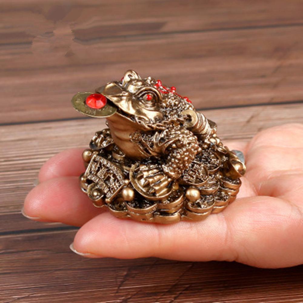 Chino Fengshui sapo suerte fortuna y riqueza chino oro figurilla de sapo Animal estatua para casa y oficina escritorio decoración ornamento
