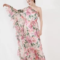 white chiffon pink floral off shoulder dress women robe 20 summer long casual beach sexy dresses plus size loose fairy