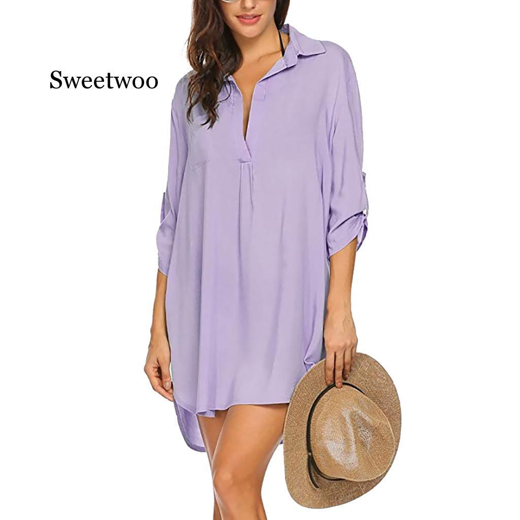 Womens Blouses V-neck  Long Sleeve Casual Tops Blouse Beach Elegant Loose White Sunscreen Shirt