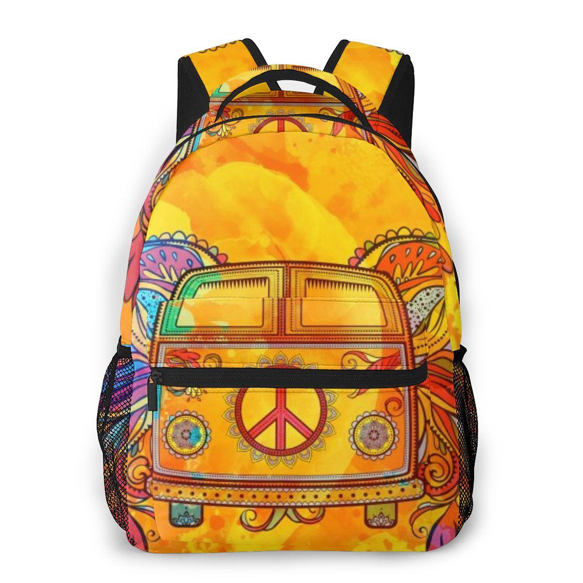 2020 mochila para mujer, Hippie bolso de hombro para coche, Mini Van Retro 1960s Love, bolso escolar de moda para adolescentes, mochilas, bolso de viaje