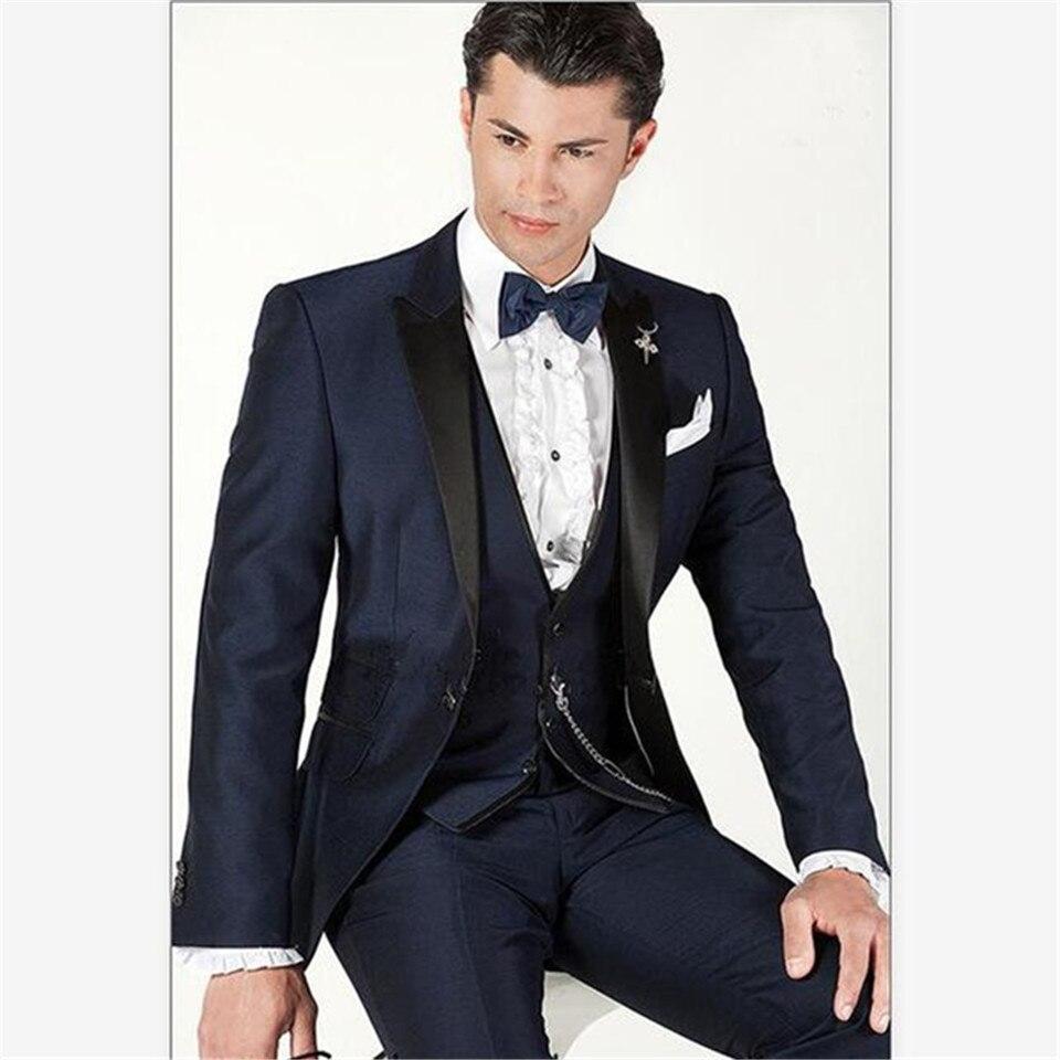 Nuevo traje clásico para hombre, traje de noche para hombre, con un solo botón, solapa, azul marino, Tuxed para novio