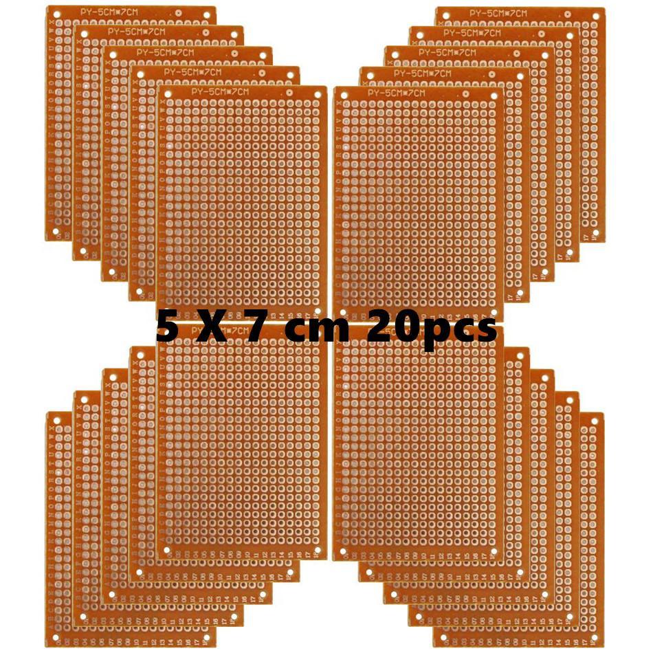 Copper Perfboard 20 PCS Paper Composite PCB Boards (5 cm x 7 cm) Universal Breadboard Single Sided Printed Circuit Board