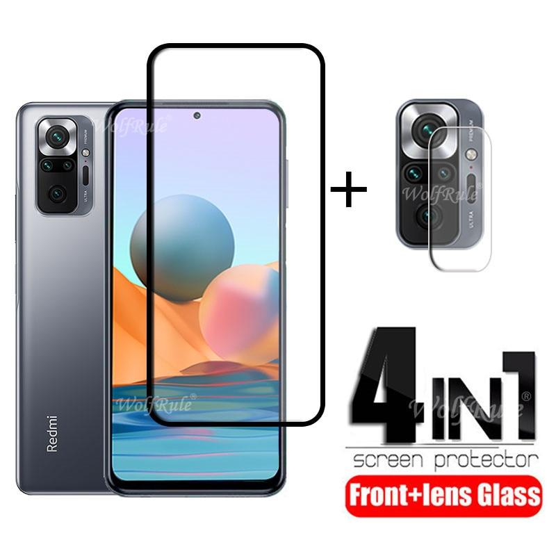 4-in-1 For Xiaomi Redmi Note 10 Pro Glass For Redmi Note 10 Pro Full Cover Screen Protector For Redmi Note 9 T 10 Pro Lens Glass