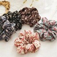 1pcs boho elastic rubber band hair ties ponytail holder hair rope hair accessories women girls floral print scrunchies