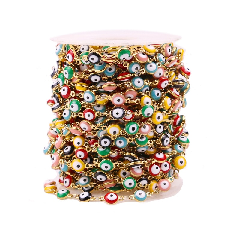 1m/lot Width 6mm Stainless Steel Turkish Eye Connect with Enamel Chains for DIY Bracelet & Necklaces jewelry making supplies