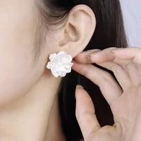 korean temperament wild pearl stud earrings fashion simple and sweet white flower earrings white petal resin earrings