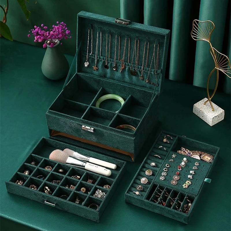 جديد 3 طبقات الأخضر الفانيلا مربط مجوهرات المنظم حلقة كبيرة قلادة حامل مساحيق التجميل حالات صندوق مجوهرات من المخمل مع قفل النساء