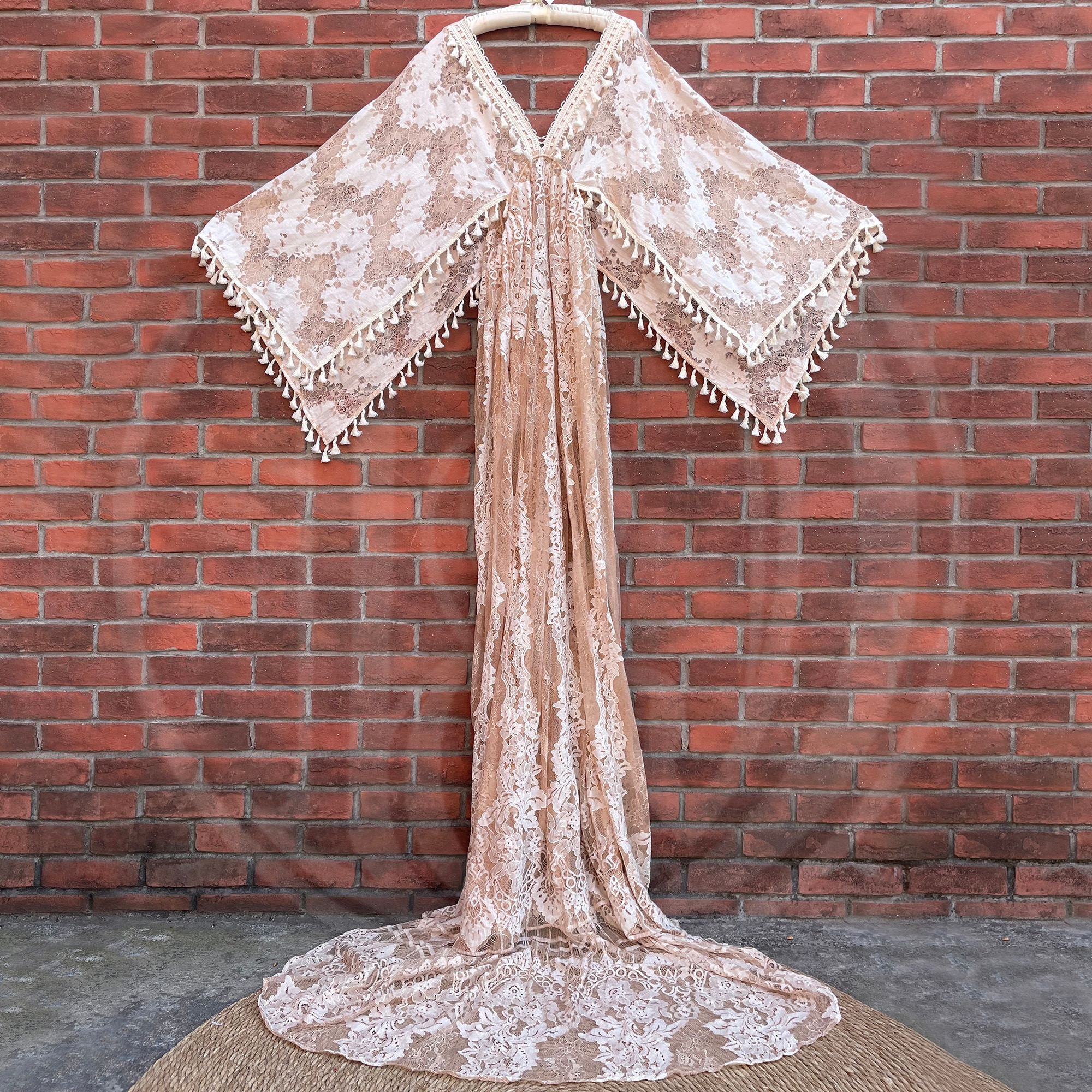 Khaki Boho Lace Photo Shoot Pregnant Robe with Tassles  Maternity Dress Evening Party Costume for Women Photography Accessories