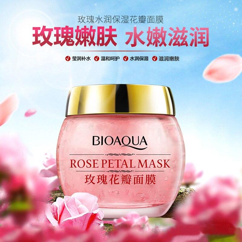 Rose Moisturizing Petal Mask Sleep Lazy Mask Brighten Skin Color Shrink Pores  - buy with discount