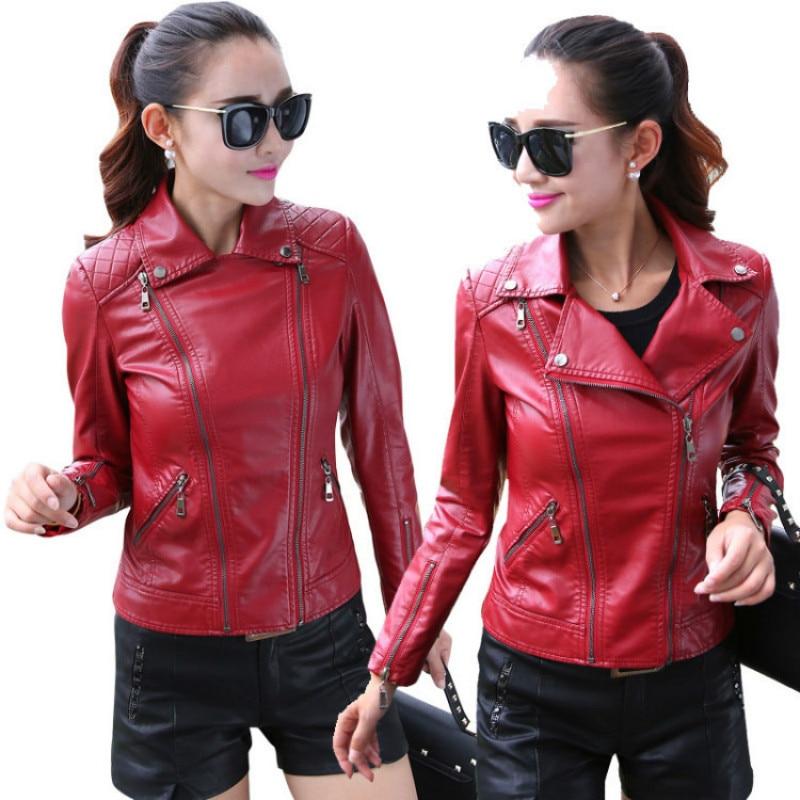 2019 European  American new suit collar ladies leather locomotive coat PU leather  leather jacket women biker jacket women enlarge